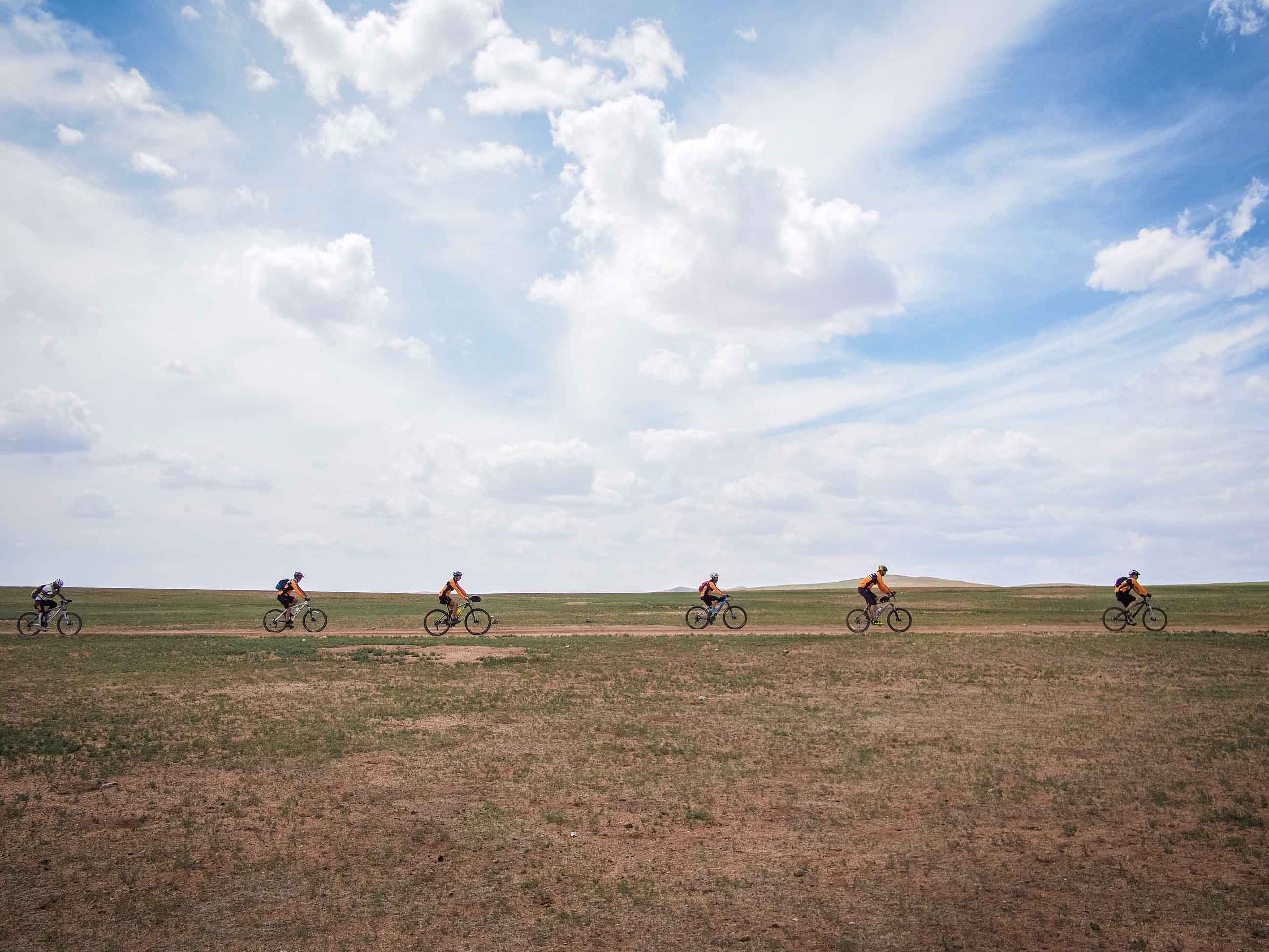 cyclists in Mongolia