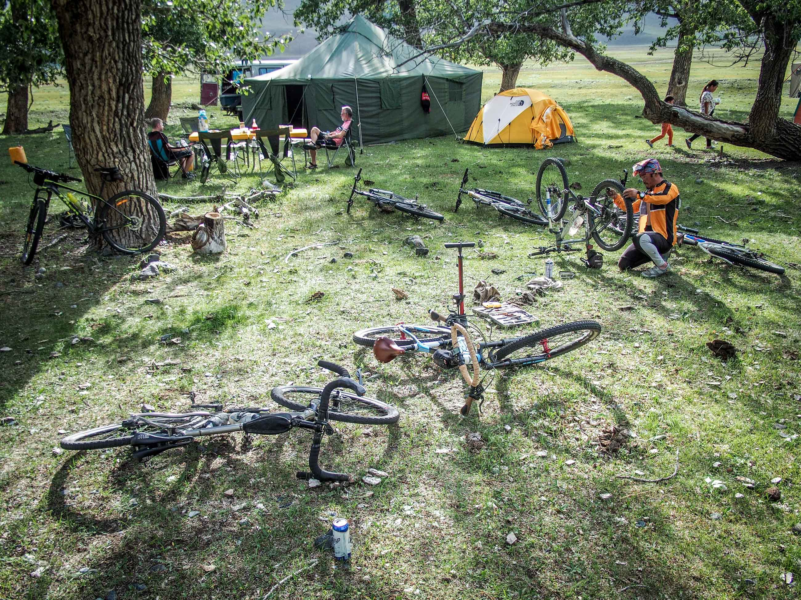 touring cyclist campsite in Mongolia