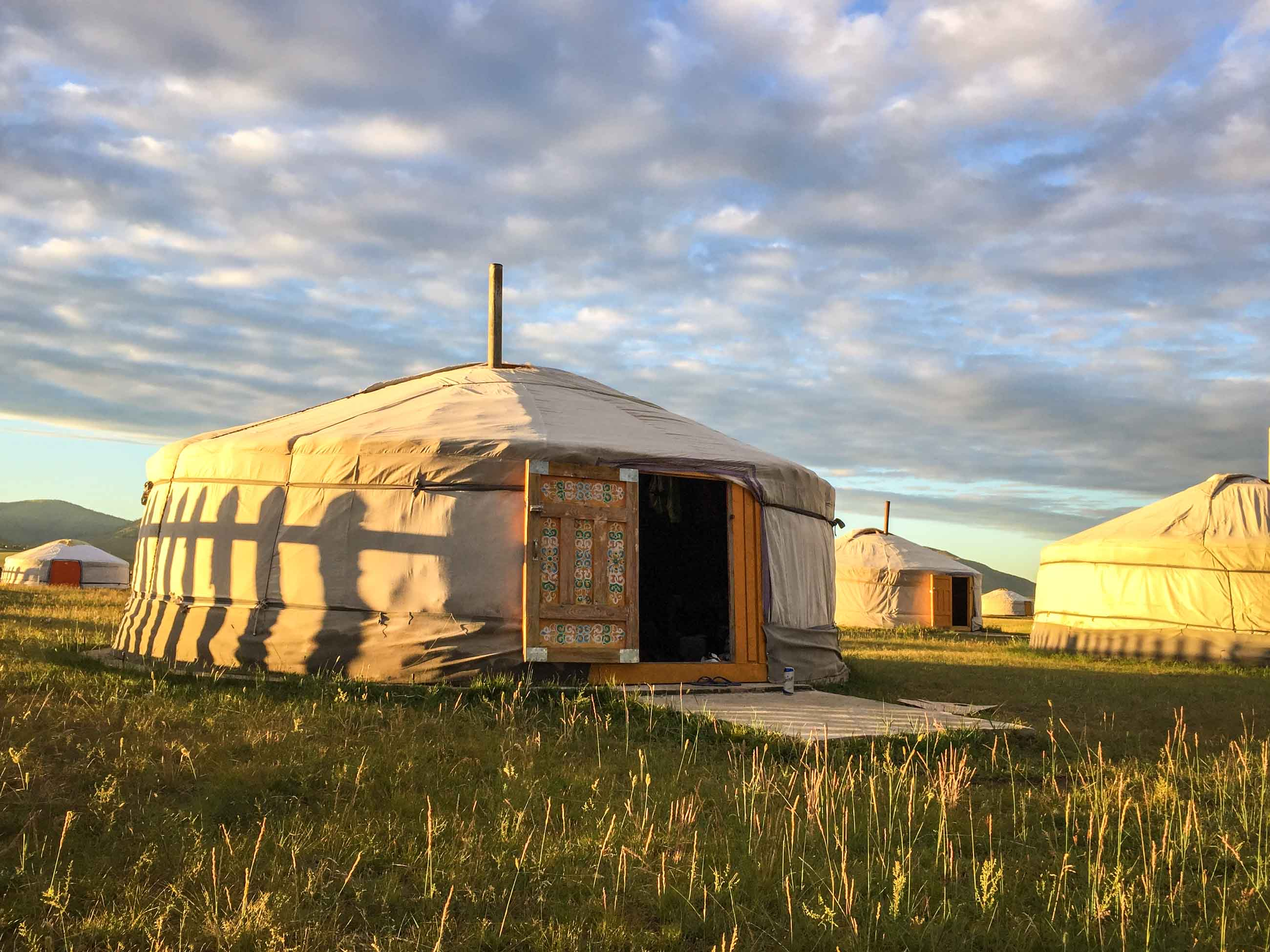 Mongolian ger camp on cycling tour