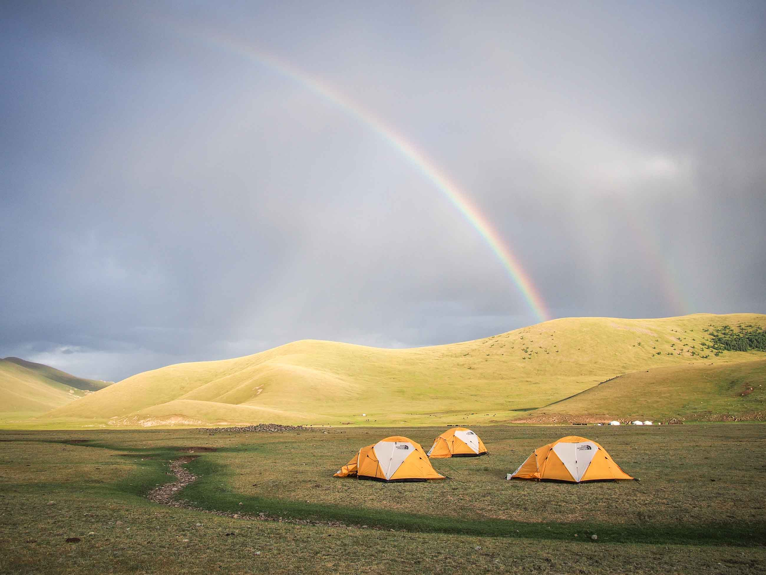 campsite for cyclists in Mongolia